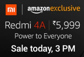 [Live @12pm] Redmi 4A @ Rs.5999 @amazon