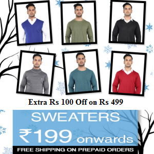 Mens Winter T-Shirts from Rs.199 @myvishal