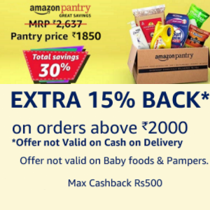 Amazon Pantry: 600 back on Rs.2000 with Amazon Pay