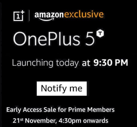 OnePlus 5T – Sale from 21st Nov + Rs.1500 off with HDFC DC/CC