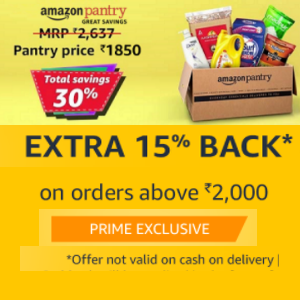 Upto 30% off & extra 300 back on Rs.2000 on monthly groceries -Amazon Pantry: