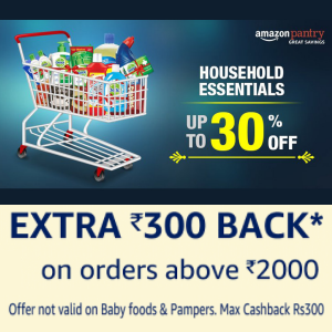 Upto 30% off & 10% back on 1000 & 15% back on 2000 on Groceries -Amazon Pantry: