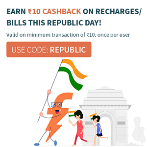 Rs.10 Cashback on Recharge & Bill Payment of Rs.10 & above @ Freecharge
