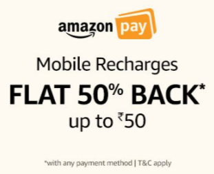 50% cashback on Recharge using Amazon Pay balance (max Rs.50)