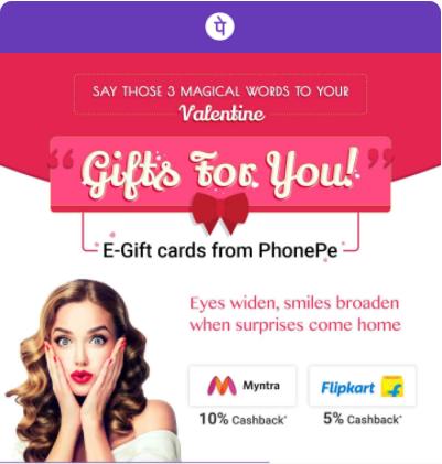 Upto 200 cashback on Gift Cards - Flipkart, Myntra & more @PhonePe