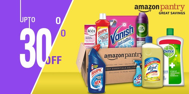 Upto 30% off on Groceries + 15% Cashback on 2000 -Amazon Pantry