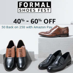 Formal Shoes - 40% - 60% off + 50 back with Amazonpay