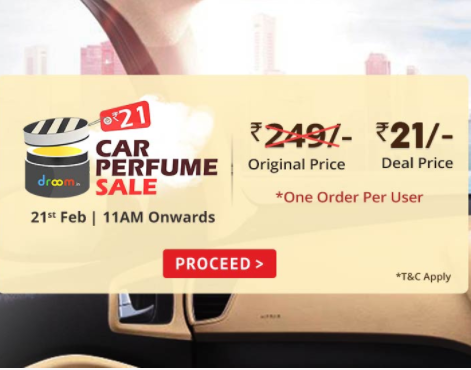 Car-Perfume-Sale at Rs.21 on droom on 21st Feb 11 am onwards