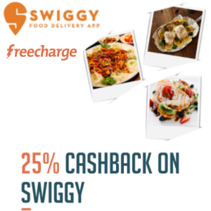 25% Cashback on Swiggy food order via Freecharge