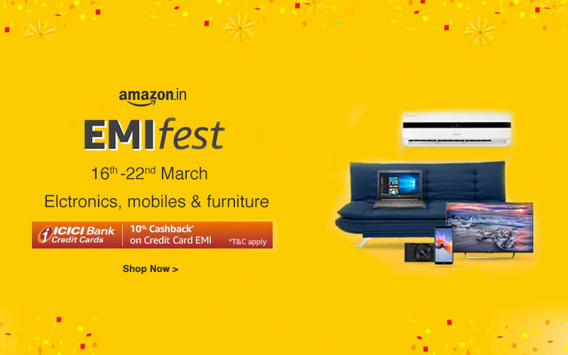 Amazon EMI Fest | Extra 10% Cashback On ICICI Credit Cards*