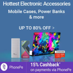 Electronics accessories - Upto 80% Off On Mobile Cases, Power Bank & More.