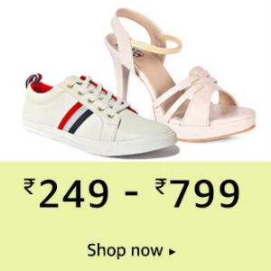 Shoes from Rs.249 - 799 @Amazon