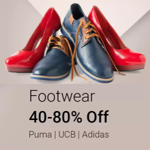 Puma, UCB, Adidas - 40% - 80% off @Flipkart
