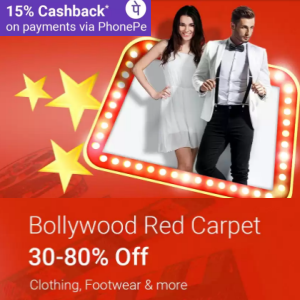 Clothing, Footwear & More 30% - 80% off + 15% Cashback with Phonepe @Flipkart