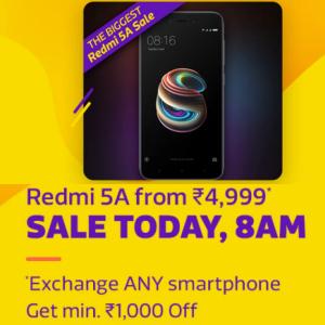 Redmi 5A from 4999 - 8AM @Flipkart