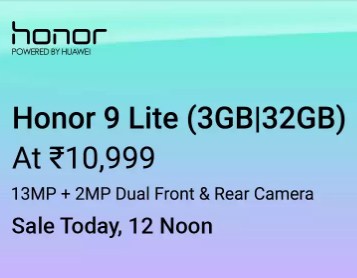 Honor 9 Lite (32 GB) - Sale today at 12 noon