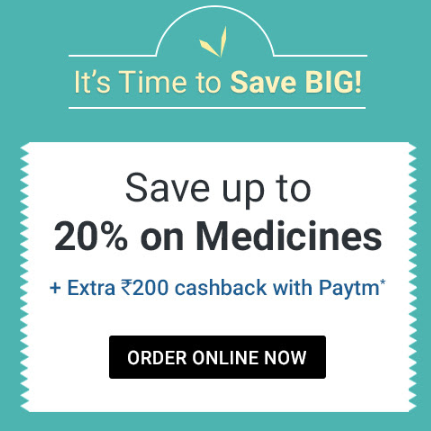 Upto 20% off on Medicines + 10% cashback with Paytm @1mg