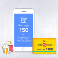 BookMyShow Rs.100 Gift Card Free On Recharge of Rs.50 Or More At Facebook