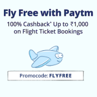 [New Users] 100% cashback Upto 1000 on Flight Tickets Booking on Paytm